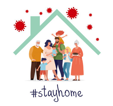 CoVID-19 Spread of the virus. New Coronavirus 2019-nCoV Positive quarantine self-isolation poster. A happy family is protected from the virus in their home. Flat vector illustration