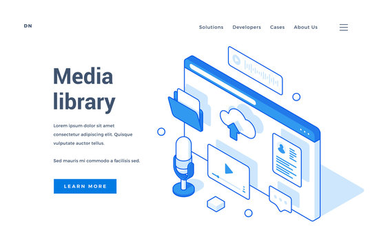 Website banner for service of media library