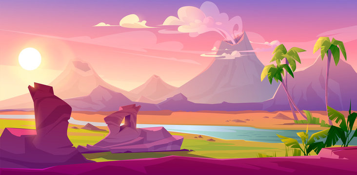 Prehistoric steaming volcanoes, cartoon volcanic background with palm trees, river and rock under pink sky with shining sun. Jurassic era of Earth evolution, tropical landscape, Vector illustration