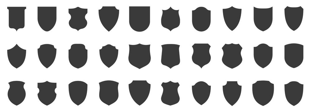 Set of shields. Protection. Vector graphics
