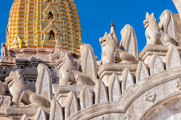 Details of Ananda Temple in Bagan, Myanmar. This buddhist temple was built in 1105 AD, and is said to be an architectural wonder in a fusion of Mon and adopted Indian style of architecture