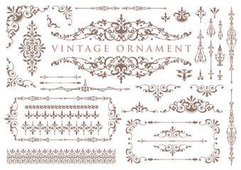 vintage ornament set. floral decorative frames and borders. Wall mural