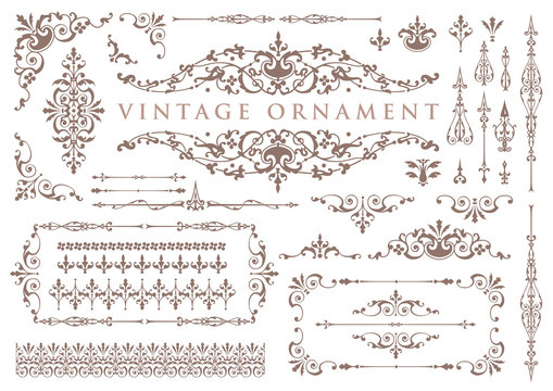 vintage ornament set. floral decorative frames and borders.