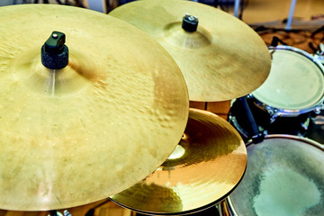 drum cymbal and drum on background Wall mural