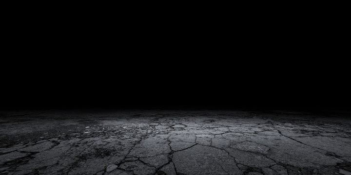 Cracked Stone Floor Concrete Background Black Empty Scene