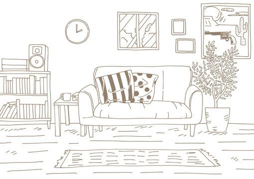 おしゃれな部屋を線でシンプルに描いた背景画