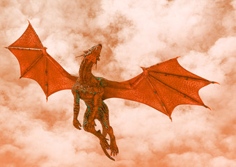 red hell dragon passing by on hot land bottom view