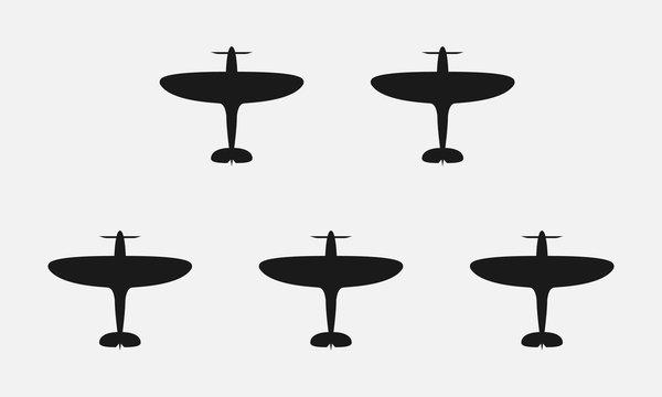 WW2 plane black and white vector icon.