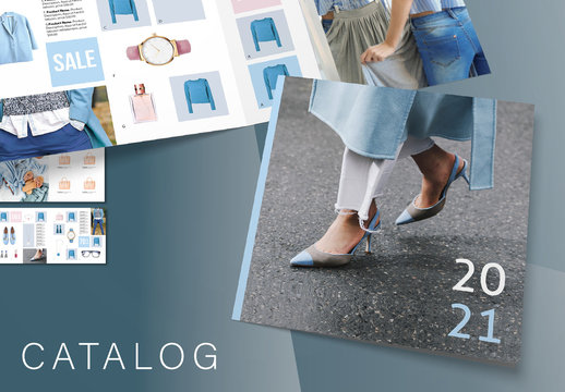 Square Product Catalog Layout with Gray and Blue Accents