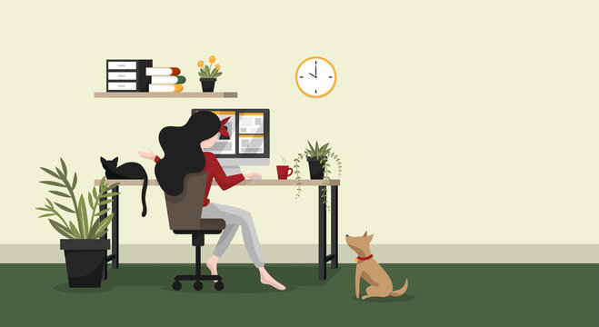 Work form home concept background of woman working with computer on table in room at her home with a cup of coffee and her pets with your copy space. Stay at home for save from coronavirus disease.
