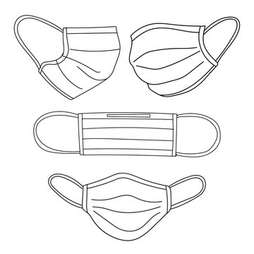 Medical mask or surgical mask at straight, left, right face angel doodle art.