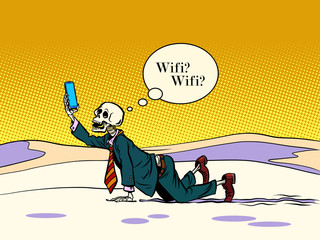 skeleton businessman looking for Wi Fi