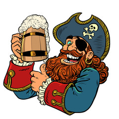 pirate funny character. wooden beer mug