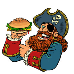 pirate funny character. fast food Burger