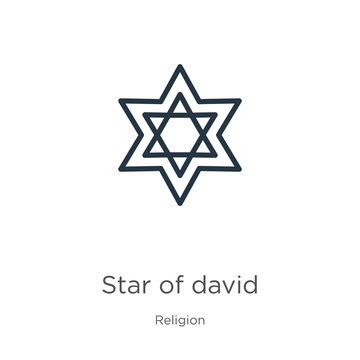 Star of david icon. Thin linear star of david outline icon isolated on white background from religion collection. Line vector sign, symbol for web and mobile