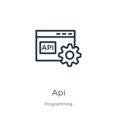 Api icon. Thin linear api outline icon isolated on white background from programming collection. Line vector sign, symbol for web and mobile
