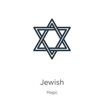 Jewish icon. Thin linear jewish outline icon isolated on white background from magic collection. Line vector sign, symbol for web and mobile