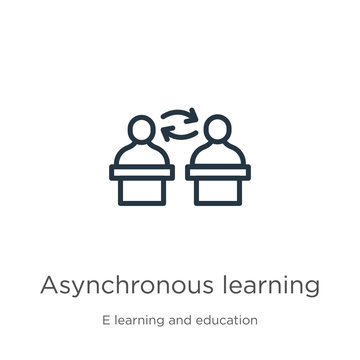 Asynchronous learning icon. Thin linear asynchronous learning outline icon isolated on white background from e learning and education collection. Line vector sign, symbol for web and mobile