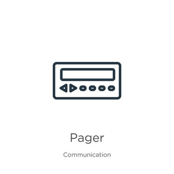 Pager icon. Thin linear pager outline icon isolated on white background from communication collection. Line vector sign, symbol for web and mobile