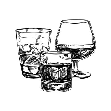 Composition of strong alcohol glasses, hand drawn vector illustration.