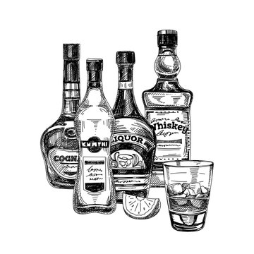 Collection of strong alcohol bottles, hand drawn vector illustration.