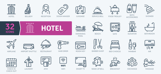 Hotel Icons Pack. Thin line icons set. Flaticon collection set. Simple vector icons