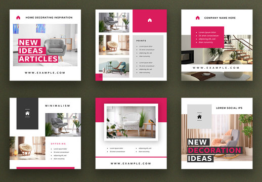 Social Media Post Layout Set with Magenta Overlay Elements