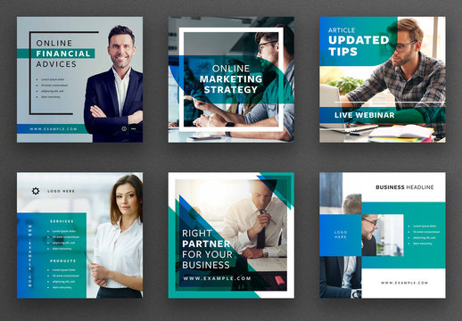 Social Media Post Layout Set with Blue and Teal Overlay Elements