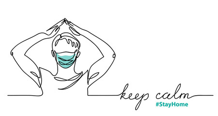 Keep calm and stay home minimalist vector sketch, doodle. Web vector background, banner with man in face mask and hands house gesture. Keep calm lettering. One continuous line drawing.