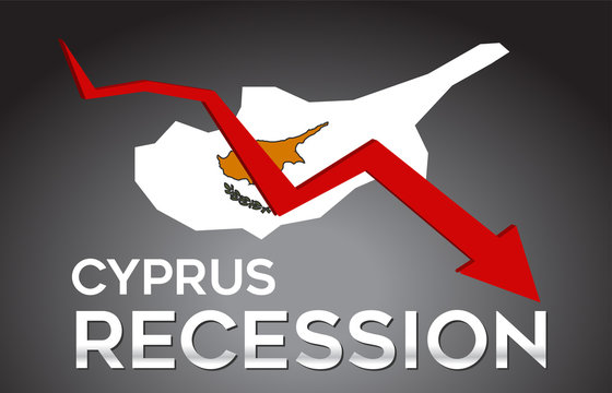 Map of Cyprus Recession Economic Crisis Creative Concept with Economic Crash Arrow.