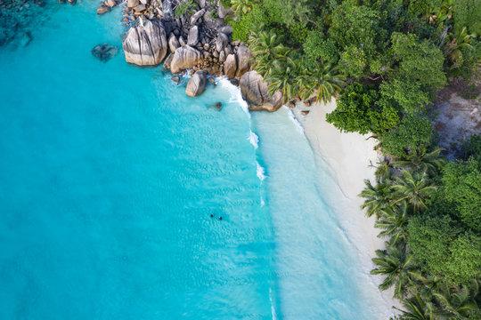 Anse Lazio beach aerial view in Seychelles Praslin Island