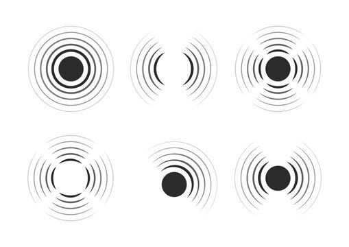Set of radar icons. Sonar sound waves. Modern flat style vector illustration