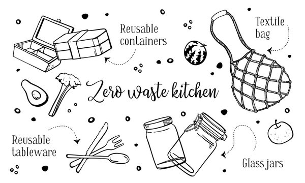 Zero waste kitchen objects set. hand drawn outline vector sketch illustration