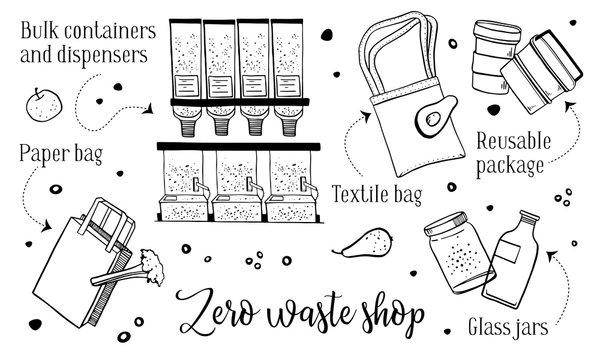 Zero waste shop objects set. hand drawn outline vector sketch illustration