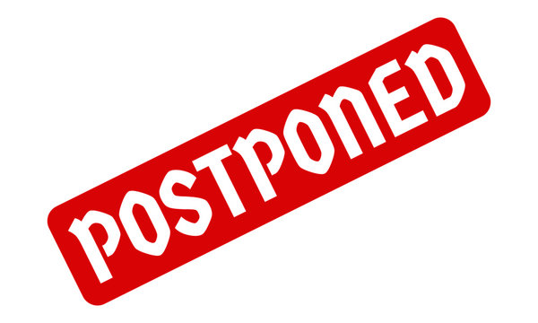 Postponed Creative Cursive handwritten Red Color lettering on white background.