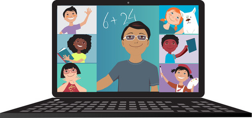 Elementary school teacher conducting a lesson via video chat with his students, EPS 8 vector illustration