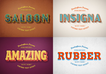 Retro Text Effect Mockup Set