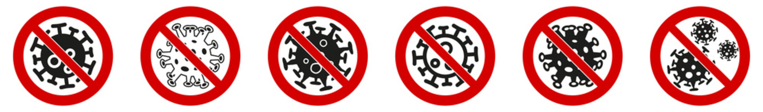 No virus sign, germ cell icon in red crossed circle, multiple versions. Can be used during coronavirus covid-19 outbreak prevention