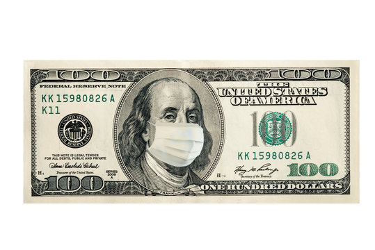 Concept, one hundred dollars with Benjamin Franklin masked by a virus. Coronavirus protection. Horizontal frame