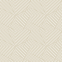 Papiers peints Artificiel Vector geometric seamless pattern. Abstract graphic background with crossing diagonal lines, stripes, small elements. Subtle golden texture. Modern linear background design. White and beige grid