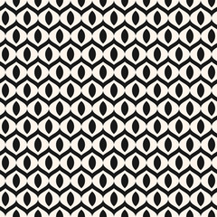 Vector abstract geometric monochrome seamless pattern with wavy lines, small curved shapes, mesh, net, grid, lattice, weaving, tissues. Simple black and white background texture. Minimal repeat design