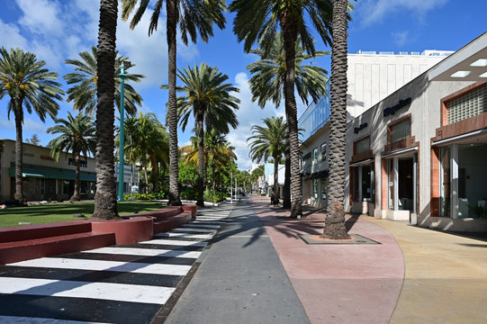 Miami Beach, Florida - March 21, 2020 - Lincoln Road Mall is empty as hotels, restaurants and beach ordered closed due to coronavirus pandemic.