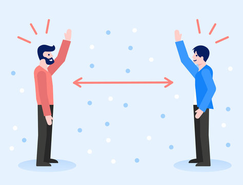 People greeting with long distance for prevent the Covid-19 infection. Coronavirus pandemic prevention. Social distancing concept illustration.