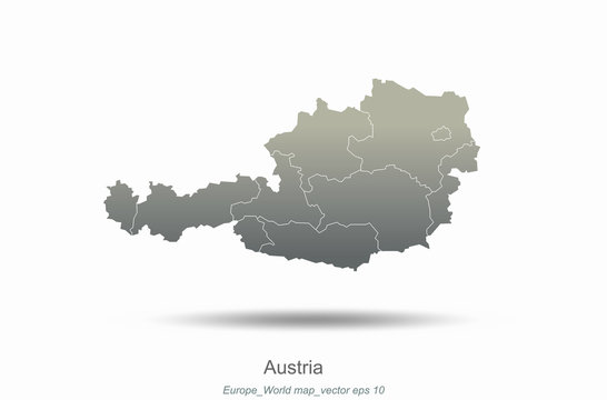 austria map. europe map. european countries vector map with gray gradient..