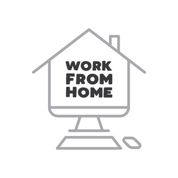 Work from home text in computer screen illustration. Lettering style message for quarantine times in coronavirus pandemic outbreak.