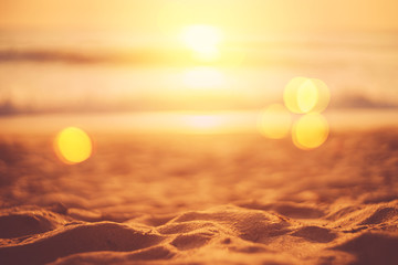 Fototapete - Tropical beach with smooth wave and sunset sky abstract background.