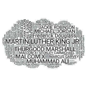 Black Legends Word cloud typographic design - VECTOR