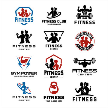 Set of Fitness Center Logo . Sport and fitness logo Design . Gym Logo Icon Design Vector Stock, Fitness Idea logo design inspiration