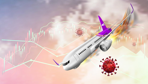 The economic crisis impact of the airline and travel tourism business from the outbreak of the disease Coronavirus or Covid-19. Vector illustration design.