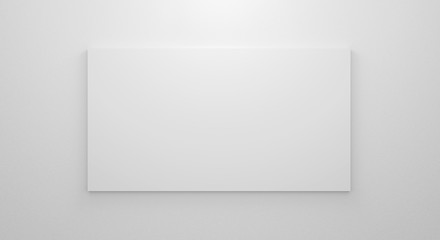 Blank bright gallery template on white wall texture in room. 3d render interior. Empty clean picture on grey background for mockup poster, exhibition, banner and advertising. Modern rectangle frame.